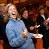 Gloucester: Sandra Ronan cheers as the final results are tallied and the CPA question overwhelmingly passes. Photo by Kate Glass/Gloucester Daily Times Tuesday, November 4, 2008