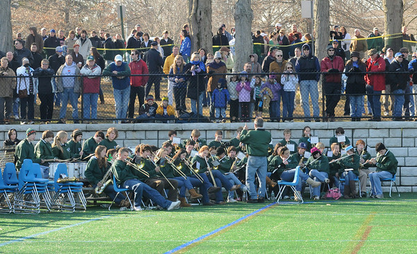 Manchester: The Manchester Essex Band plays for the large crowd during a break in the action at the Thanksgiving Day Football game against Georgetown at Ed Field Field Thursday morning. Photo by Desi Smith/Gloucester Daily Times Thursday, November 27, 2008