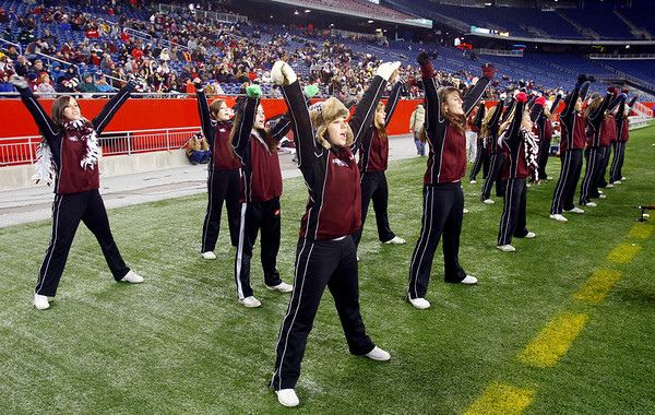 The Gloucester cheerleaders root for the Fishermen as they play Duxbury in the Division 2A Super Bowl at Gillette Stadium on Saturday. The Fishermen lost 46-26. Photo by Kate Glass/Gloucester Daily Times Saturday, December 6, 2008