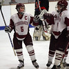 Gloucester: Gloucester's Conor Ressel, right, congratulates teammate Josh Salah on his goal during the first period of the consolation game of the Cape Ann Savings Bank Holiday Tournament last night. Salah scored on a 5-on-3 power play. Photo by Kate Glass/Gloucester Daily Times Tuesday, December 30, 2008