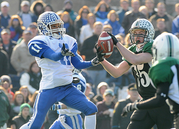 Manchester: M/E Brian Ciccone intercepts a pass intended for Georgetown's Jaymie Spears in the 1st quarter at Ed Field Field on Thanksgiving Day. Photo by Desi Smith/Gloucester Daily Times Thursday, November 27, 2008