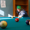 Gloucester: Larry Susanno of Gloucester plays pool with Roy Davis of Rockport (not shown) at the Rose Baker Senior Center Tuesday morning. Susanno won the first game, but Davis came back to win the second. Photo by Kate Glass/Gloucester Daily Times Tuesday, December 23, 2008