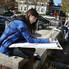 Gloucester: Jacqueline Gross, a freshman at Gloucester High School worked on her sketch of City Hall for Jacqueline Underwood's drawing class Friday afternoon.  Underwood took her students downtown so they could choose a building to draw for a class field trip.  Mary Muckenhoupt/Gloucester Daily Times