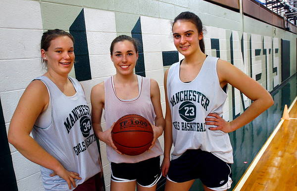 Manchester: Manchester Essex girls basketball captains Jordan Biggar, Lee Stroman, and Elsa Keefe are hoping to lead their team to the state finals again this year. Photo by Kate Glass/Gloucester Daily Times Monday, December 15, 2008