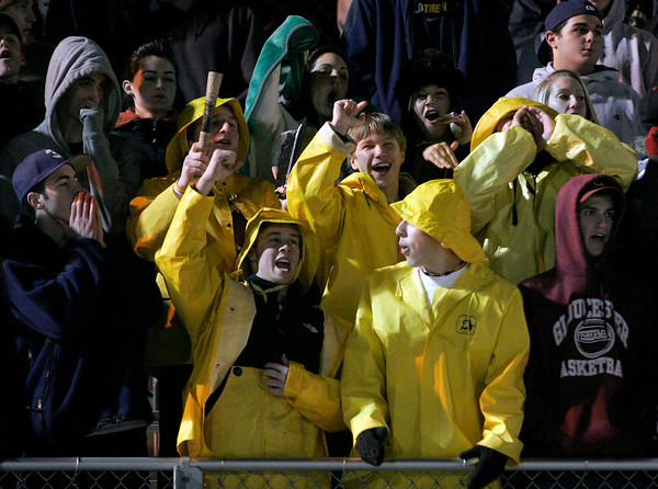 Gloucester fans cheer during the Fishermen's 26-7 victory over Masconomet in the Division 2A playoff game at Manning Field in Lynn last night. Photo by Kate Glass/Gloucester Daily Times