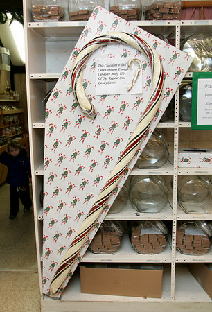 Rockport: A six foot candy cane at Tucks Candy in Dock Square is being raffled off.  The lucky winner will be announced December 20. Mary Muckenhoupt/Gloucester Daily Times.