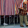 Rockport: Stan Poole leaves the voting booth at Rockport Elementary School after casting his ballot on whether the town should purchase the Granite Savings Bank building at 42 Broadway. Photo by Kate Glass/Gloucester Daily Times Tuesday, November 25, 2008
