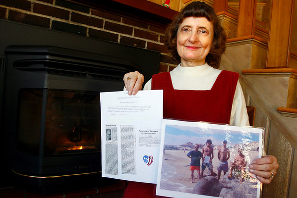 Rockport: Sharon Chace of Rockport placed a message and poem about her friend's husband's death in a bottle and it washed up on the shores of Portugal. Photo by Kate Glass/Gloucester Daily Times Monday December 22 2008