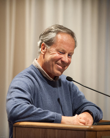 """DESI SMITH/STAFF Photo    Former Boston Globe editor Ben Bradlee Jr who spent 10 years working on his biography of Red Sox slugger Ted Williams, smiles as he recalls some special moments from his book """"The Kid"""" while speaking at the Rockport Public Library Wednesday night.   April 16,2014"""