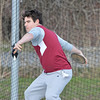 "DESI SMITH/STAFF Photo       Gloucester's Aiden Lyons competes in the Discus throw against Danvers, Thursday afternoon at the New Balance Track and Field at Newell Stadium in Gloucester. Lyons attempt on this throw was for 95' 4"".  April 17,2014"