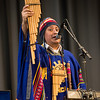 DESI SMITH/STAFF Photo  Omar Clavijo of The New Inca Son, shows some of the instruments made from bamboo, as they plays some music for some students as part of World Language Week Friday afternoon at Gloucester High School. A artistic bridges program, sponsored by the Gloucester Education Foundatio, and Cape Ann Museum, brings artist into the Gloucester Public Schools to make connections with core curriculum.     April 11,2014