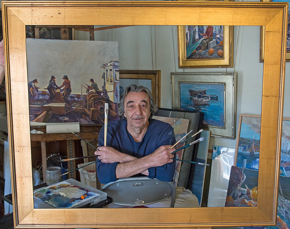 """DESI SMITH/Staff photo.  Local artist Paul Ciaramitaro will be opening the season for the North Shore Arts Association. The title of the show """"Wooden Boats and Iron Men."""" The show opens April 24.  The artist reception is Sunday April 27 from 2 p.m. to 5 p.m."""