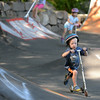 RYAN HUTTON/ Staff photo.<br /> Will DeFort, 4, picks up speed at the skate park behind the Ben Beyea Youth & Teen Center.