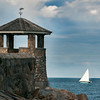 DESI SMITH/Staff photo.   A sailboat fills it's sails with wind and keeps an even keel, as it passes by a gazebo on Front Beach Thursday afternoon in Rockport.    August 28,2014