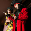 DESI SMITH/Staff photo.  Rick Gadbois (right) plays Captain Hook, as he and Ben Fuller act out a scene from Adventures of Peter Pan, at a final dress rehearsal Thursday night at the Annisquam Village Hall on Leonard Street. The show opens next Tuesday and runs through Sunday.  July 31,2014