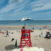 DESI SMITH/Staff photo.  Life Guard Mariah Lowe of Gloucester, keeps watch over Front Beach in Rockport on a recent beach day.  August 16,2014