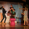 DESI SMITH/Staff photo.  Lidi Sands plays a pink flamingo (left) gets attacked in a scene from Adventures of Peter Pan, at a final dress rehearsal Thursday night at the Annisquam Village Hall on Leonard Street. The show opens next Tuesday and runs through Sunday.  July 31,2014
