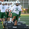 RYAN HUTTON/ Staff photo.<br /> Linebacker Brett Williams sharpens his footwork during an agility drill during Manchester/Essex Regional High School football practice on Wednesday night.