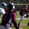 Manchester: Rockport pitcher Mike Emerson fields a ground ball hit by Manchester Essex's Matt Corwin at Memorial Field yesterday afternoon. The Vikings won 14-7. Photo by Kate Glass/Gloucester Daily Times Thursday, April 9, 2009