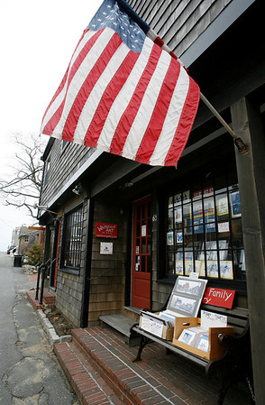 Rockport: Businesses in Rockport will now have to apply for a permit to display signs and merchandise, such as these items outside the Kaihlanen Gallery on Bearskin Neck, outside their stores. Photo by Kate Glass/Gloucester Daily Times Thursday, April 1, 2009