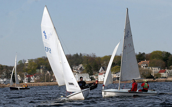 Gloucester: SailGHS teammates Jared Dunn and Sam Ornstein sail around the leeward mark as they race against Notre Dame yesterday afternoon. Photo by Kate Glass/Gloucester Daily Times Wednesday, April 29, 2009