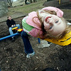 Gloucester: Kasey Lafata, 6, of Gloucester leans back to try to shift her weight on the seesaw so Steven Strong, 7, of Gloucester will go in the air at Stage Fort Park yesterday afternoon. Photo by Kate Glass/Gloucester Daily Times Thursday, April 2, 2009