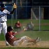 Gloucester's Trevor Curley slides safely into second base as Peabody's Mark Finocchio hangs onto the ball during the Fishermen's 6-2 loss to the Tanners yesterday. Photo by Kate Glass/Gloucester Daily Times Monday, April 27, 2009