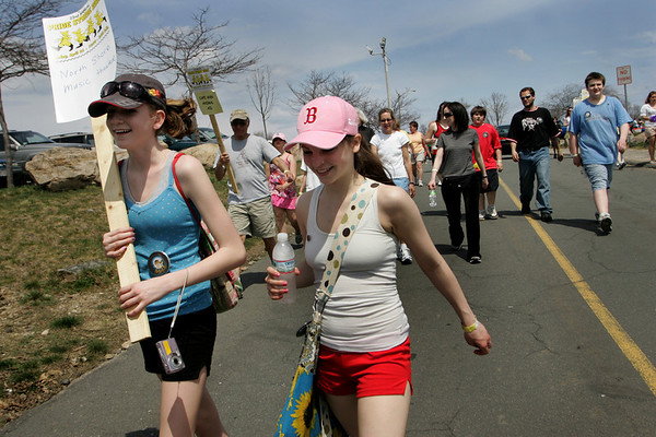 Gloucester: Tasia Kendal, 14, and Rachel Rikeman, 14, head down Hough Avenue at Stage Fort Park as Pride Stride begins Sunday afternoon.  The walk, which raises money for Cape Ann Non-Profit, is a five mile walk that begins and ends at Stage Fort Park. Mary Muckenhoupt/Gloucester Daily Times