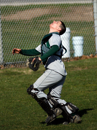Manchester: Manchester Essex's Ben Kekeisen looks up for a pop fly that went foul during their game against Rockport at Memorial Field yesterday afternoon. The Vikings won 14-7. Photo by Kate Glass/Gloucester Daily Times Thursday, April 9, 2009