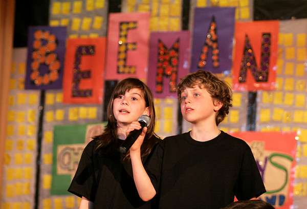"Gloucester: Allison Doody and Jack Favazza perform solos in the Beeman School's rendition of ""Seasons of Love"" as part of Beeman on Broadway. The show will run tonight and tomorrow at 7 p.m. Tickets are $5 for adults and $2 for students. Photo by Kate Glass/Gloucester Daily Times Tuesday, April 14, 2009"