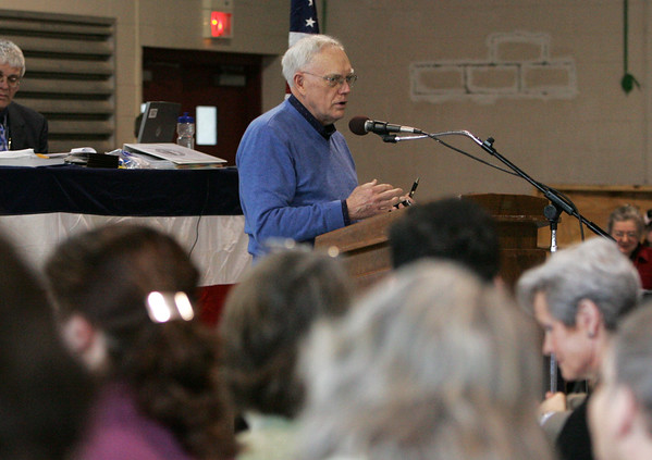 Rockport: Sandy Jaques talks about putting money into the stabilization fund during the annual Rockport Town Meeting Saturday. Mary Muckenhoupt/Gloucester Daily Times