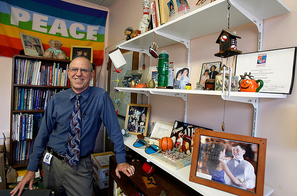 Gloucester: West Parish Principal Jim Gutstadt will be retiring after 16 years at the school. Decorating his office are many gifts he has collected from students and colleagues over the years. Photo by Kate Glass/Gloucester Daily Times Thursday, April 9, 2009