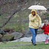 Rockport: Kathy Morrell and her daughter Lily, 4, walk over to the egg hunt at Millbrook Meadow Saturday afternoon.  Mary Muckenhoupt/Gloucester Daily Times