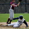 Wenham: Rockport's Mike Emerson leaps for the ball as Hamilton-Wenham's Dan Mully steals second base during the Vikings' 4-0 loss yesterday. Photo by Kate Glass/Gloucester Daily Times Thursday, April 23, 2009