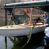 Gloucester: Rick Trepp, owner of The Spirit, a 1940s Alden class sailboat, stands aboard during the boat's launch at River Boat Works at Montgomery Boat Yard yesterday afternoon. It took four years to restore the boat, which Trepp says has probably been out of the water for over 20 years. Photo by Kate Glass/Gloucester Daily Times Monday, April 27, 2009