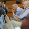Rockport: Bill Dwyer listens to what is being said at the annual Rockport Town Meeting held in the gymnasium of Rockport High School Saturday morning. Mary Muckenhoupt/Gloucester Daily Times