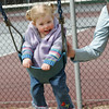 Rockport: Bridgett Murphy, 18 months, of Manchester laughs each time her mom gives her a push on the swings at the playground behind Rockport Elementary School Saturday afternoon. Mary Muckenhoupt/Gloucester Daily Times