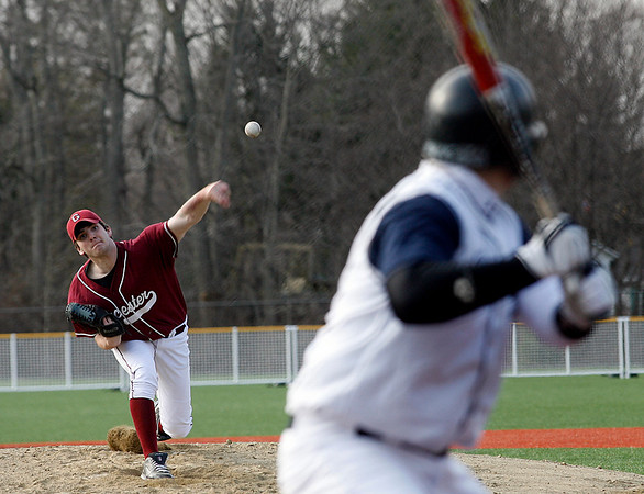 Gloucester: Gloucester pitcher Brett Smith took over in the second inning of their season opening game against St. John's Prep in Danvers yesterday afternoon after starter Dylan Maki injured his shoulder. Photo Kate Glass/Gloucester Daily Times Wednesday, April 8, 2009