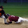 Gloucester: Beverly's Matt Lanza is late with the tag as Conor Ressel slides safely into second base during their game last night. Photo by Kate Glass/Gloucester Daily Times Wednesday, April 29, 2009