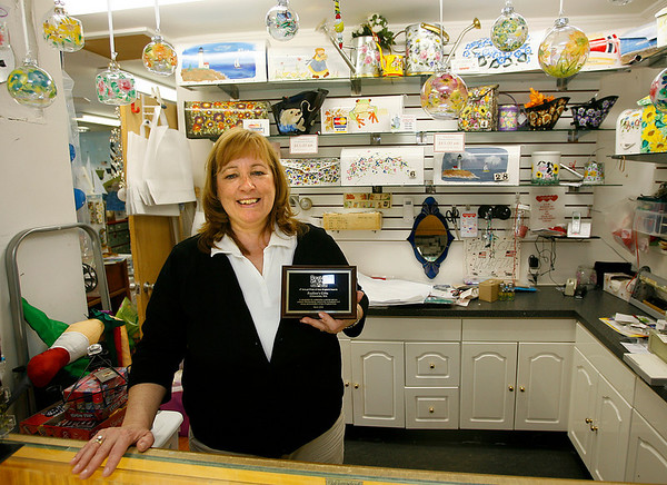 Gloucester: Pauline Bresnahan of Pauline's Gifts on Essex Avenue in Gloucester recently won Boston Gift Show's Annual Pride of New England Award. Photo by Kate Glass/Gloucester Daily Times Monday, April 20, 2009