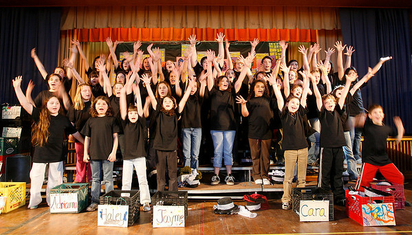 Gloucester: Fourth and fifth grade students at the Beeman Elementary School rehearse for their Beeman on Broadway show. The show will run tonight and tomorrow at 7 p.m. Tickets are $5 for adults and $2 for students. Photo by Kate Glass/Gloucester Daily Times Tuesday, April 14, 2009