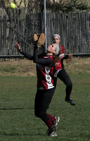 Gloucester: Nicole Whipple catches a fly ball in centerfield during the softabll game against Saugus at Burnham's Field Wednesday afternoon. Mary Muckenhoupt/Gloucester Daily Times