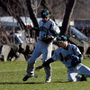 Rockport: Manchester Essex's Alex Ray and Matt Corwin both go after a pop fly during their 12-8 win over Rockport at Evan's Field yesterday afternoon. Photo by Kate Glass/Gloucester Daily Times Tuesday, April 14, 2009