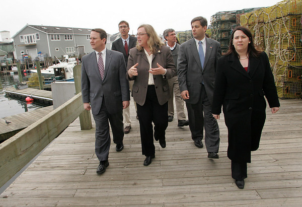 Gloucester:  Lt. Governor Tim Murray, left, takes a walking tour of Gloucester's waterfront with Mayor Carolyn Kirk, State Senator Bruce Tarr and State Rep. Ann-Margaret Ferrante.  Murray, Chair of the Seaport Advisory Council, came to Gloucester to learn more about the economic development challenges of the city.  Mary Muckenhoupt/Gloucester Daily Times