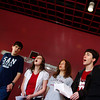 "Rockport: Members of the Rockport Madrigal Choir rehearse ""Blue Moon"" in the foyer in front of the auditorium at Rockport High School Thursday afternoon. The Madrigal Choir will be singing in a choral competition in Burlington Friday morning. Pictured, from left, Jenny Sonia, Nathan Cruz, Colleen Hansbury, Aedan McCarthy, and Sarah Brisson. Mary Muckenhoupt/Gloucester Daily Times"