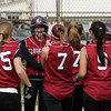 Gloucester: Teammates congratulate Kelly Benson after she hit a home run during Gloucester's softball game at Burnham's Field Friday afternoon. Mary Muckenhoupt/Gloucester Daily Times