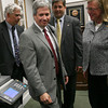 Gloucester: Steve Ouellette, Alan Risenhoover, Sen. Bruce Tarr, and Mayor Carolyn Kirk emerge from a closed door meeting at Kirk's office yesterday evening. Photo by Kate Glass/Gloucester Daily Times