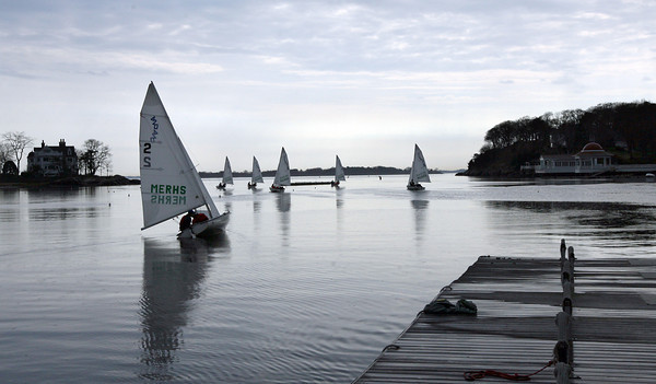 Manchester: Members of the Manchester Essex Regional High School sailing team head out to practice yesterday afternoon. The team will be participating in a regatta against BC High today. Photo by Kate Glass/Gloucester Daily Times