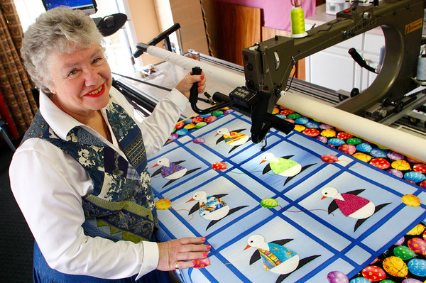 """Gloucester: Linda Hogan of Rockport is the grand prize winner of """"The Quilter Challenge."""" The Downy fabric softener challenge began in January to encourage quilters to create as many quilts as possible for hospitalized children.  Linda won the contest by sewing over 6 dozen quilts for sick children in only 60 days. Mary Muckenhoupt/Gloucester Daily Times"""