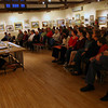 Rockport: Over 100 people gathered at the Rockport Art Association on Thursday night for a debate between the five write-in candidates for the open Rockport selectman's seat. Eoin Vincent, standing, joined Maria Clements, Herb Wescott, Jonathan Weaver and Frances Fleming in the debate, which was hosted by the Gloucester Daily Times. Photo by Kate Glass/Gloucester Daily Times